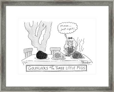Goldilocks And The Three Little Pigs Framed Print by Danny Shanahan