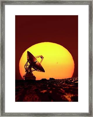 Goldstone Observatory At Night Framed Print by Detlev Van Ravenswaay