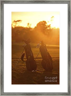 Golf Bags At Sunset Framed Print