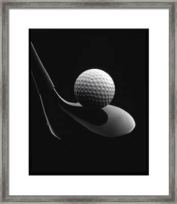 Golf Ball And Club Framed Print