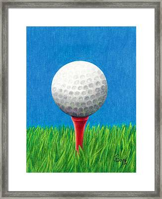 Golf Ball And Tee Framed Print
