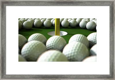 Golf Ball Hole Assault Framed Print by Allan Swart