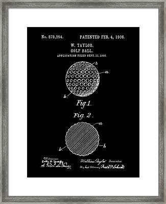 Golf Ball Patent 1906 - Black Framed Print by Stephen Younts