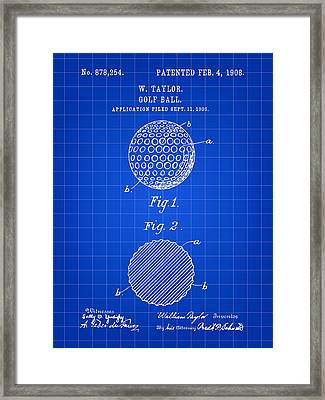 Golf Ball Patent 1906 - Blue Framed Print by Stephen Younts