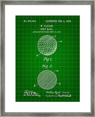 Golf Ball Patent 1906 - Green Framed Print by Stephen Younts