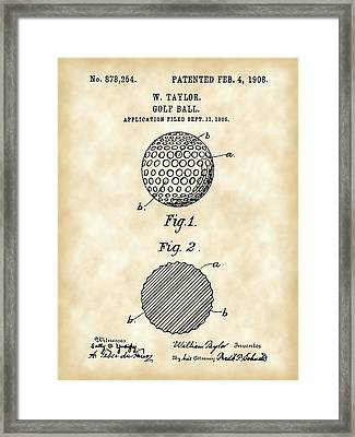Golf Ball Patent 1906 - Parchment Framed Print by Stephen Younts