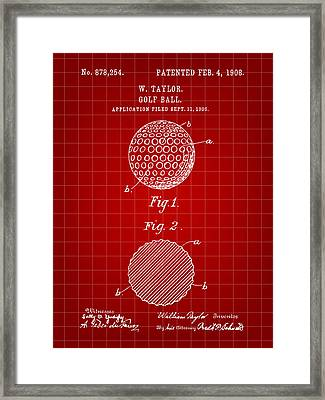 Golf Ball Patent 1906 - Red Framed Print by Stephen Younts