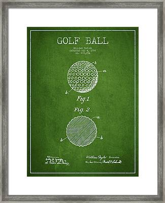 Golf Ball Patent Drawing From 1908 - Green Framed Print by Aged Pixel