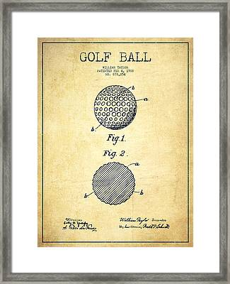 Golf Ball Patent Drawing From 1908 - Vintage Framed Print