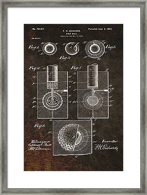 Golf Ball Patent On Leather Framed Print by Dan Sproul