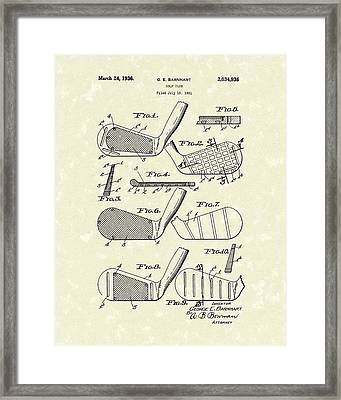 Golf Club 1936 Patent Art Framed Print