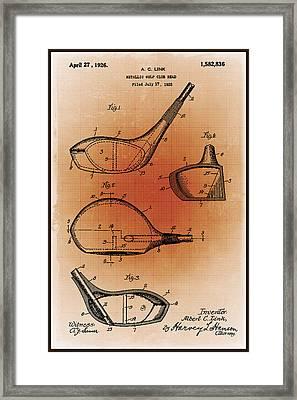 Golf Club Patent Blueprint Drawing Sepia Framed Print by Tony Rubino