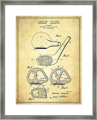 Golf Club Patent Drawing From 1926 - Vintage Framed Print by Aged Pixel