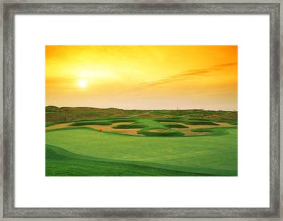 Golf Course At Dusk, Harborside Framed Print