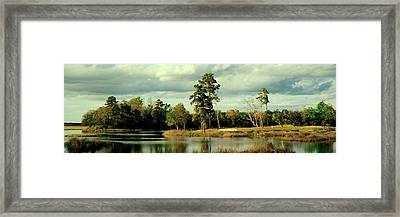 Golf Course At The Lakeside, Gray Framed Print by Panoramic Images