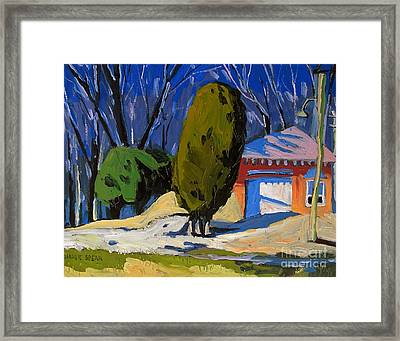 Golf Course Shed Series No.8 With Line Drawing Framed Print by Charlie Spear