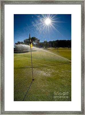 Golf Course Sprinkler On Sunny Day Framed Print