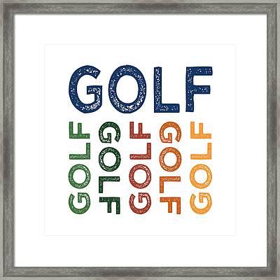 Golf Cute Colorful Framed Print by Flo Karp