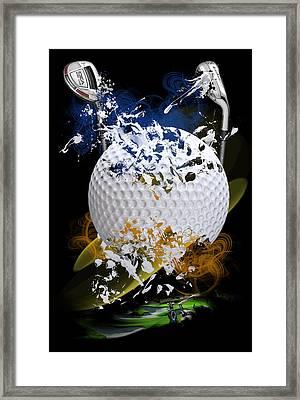 Golf Explosion Framed Print by Davina Washington