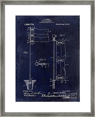 1913 Golf Flag Patent Blue Framed Print
