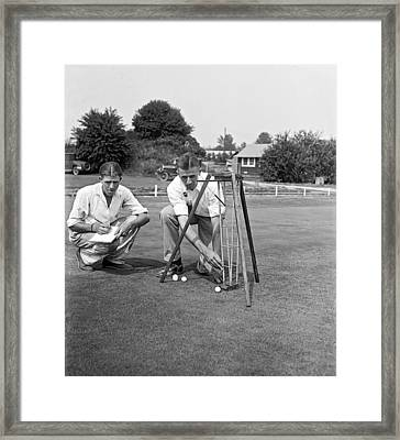 Golf Green Experiments Framed Print by Underwood Archives
