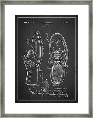Golf Shoe Patent Drawing From 1927 Framed Print by Aged Pixel