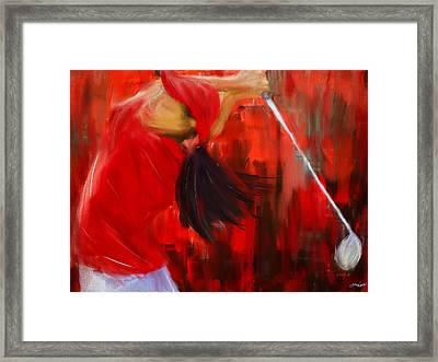 Golf Swing Framed Print by Lourry Legarde