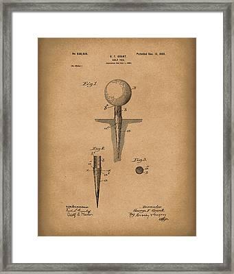 Golf Tee 1899 Grant Patent Art Brown Framed Print by Prior Art Design