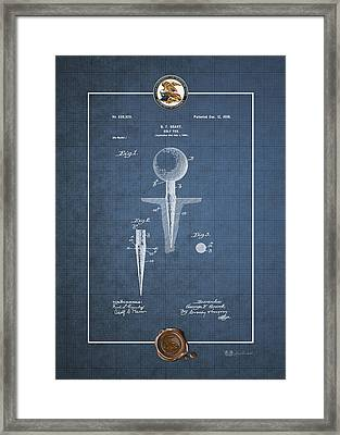 Golf Tee By George F. Grant - Vintage Patent Blueprint Framed Print by Serge Averbukh