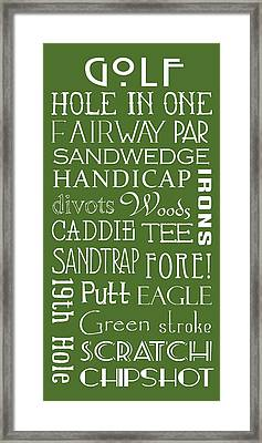 Golf Terms Framed Print by Jaime Friedman