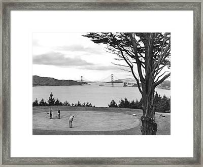 Golf With View Of Golden Gate Framed Print by Ray Hassman