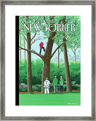 Golfer Making A Shot In A Tree While Different Framed Print by Bruce McCall