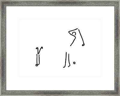 Golfer On Golf Course Framed Print by Lineamentum