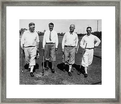 Golfers Walking Framed Print by Artist Unknown