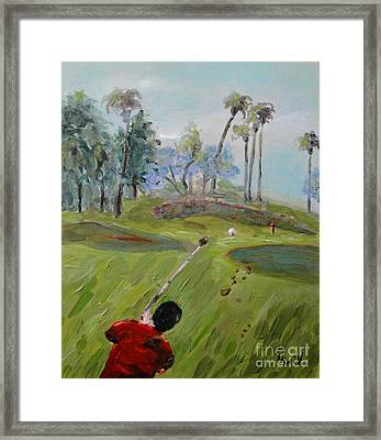 Framed Print featuring the painting Golfing At Monarch by Maria Langgle