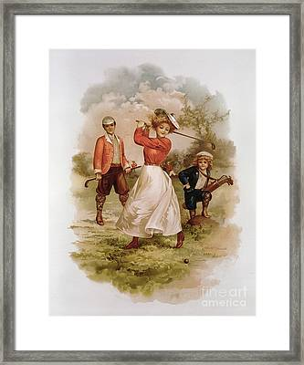 Golfing Framed Print by Ellen Hattie Clapsaddle