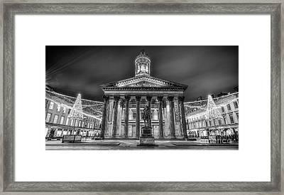 Goma Glasgow Lit Up Mono Framed Print by John Farnan