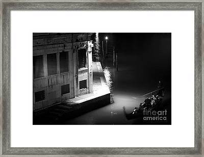 Gondola At Night On The Grand Canal Framed Print