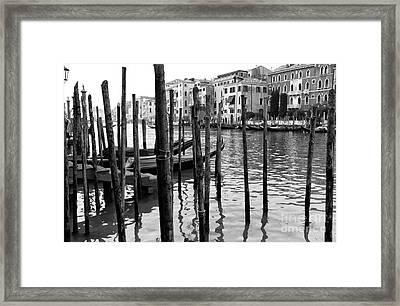 Gondola Dock On The Grand Canal Framed Print