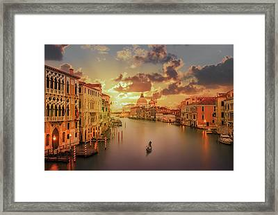 Gondola In The Grand Canal At Sunset Framed Print by Buena Vista Images