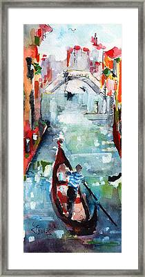 Gondola In The Mist Venice Italy Framed Print