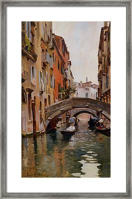 Gondola On A Venetian Canal Framed Print by Rubens Santoro
