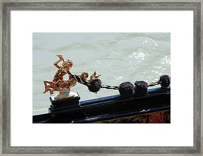 Gondola Ornament Triton Blowing A Seashell Venice Italy Framed Print
