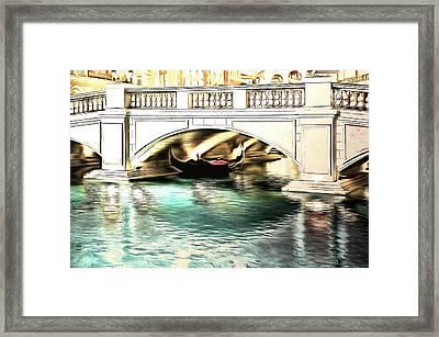 Gondola Resting Under Bridge Framed Print