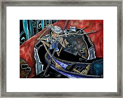 Gondola Travel Venice Italy - Viaggi E Avventure Di Pinocchio Gondoliere In Italia Framed Print by Arte Venezia