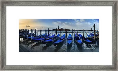 Gondolas And San Giorgio Maggiore By Dawn Framed Print by Simon Kayne