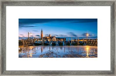 Gondolas At Dawn With High Tide - Venice - Italy Framed Print by Matteo Colombo