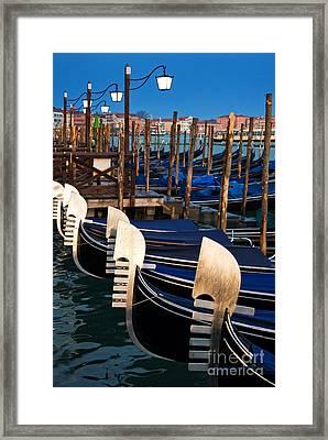 Gondolas At Night Framed Print