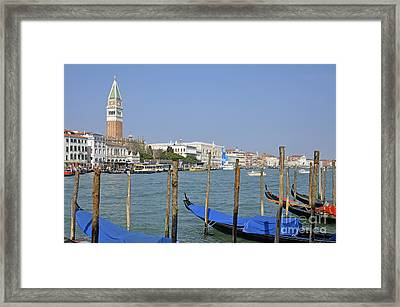 Gondolas At Pier By Grand Canal Framed Print