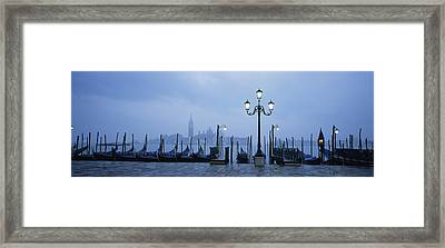 Gondolas In A Canal, Grand Canal, St Framed Print